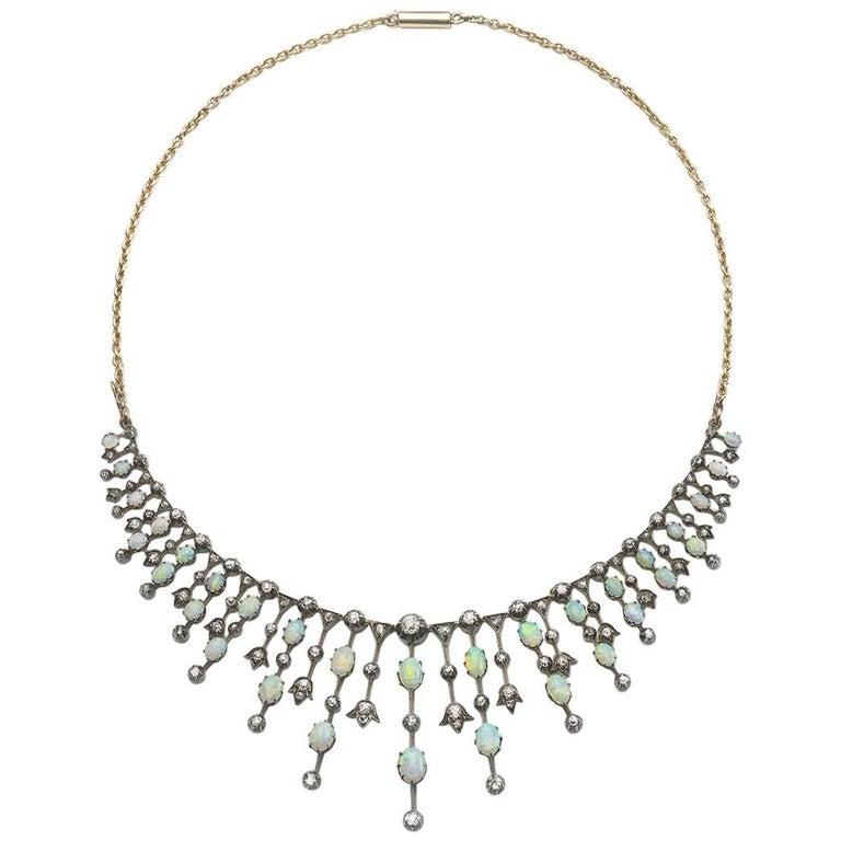 Opal and Diamond Fringe Necklace