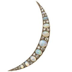 Antique Opal and Diamond Crescent Brooch
