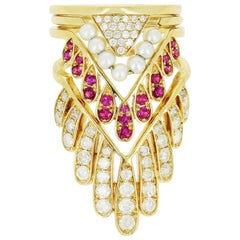 Yvonne Leon's Set of Four Rings in 18 Karat Yellow Gold with Diamonds and Ruby
