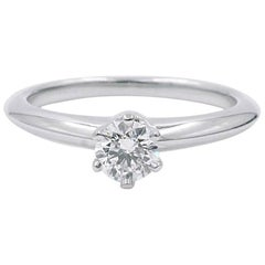 Tiffany & Co. Platinum Solitaire Diamond Engagement Ring 0.22 Carat
