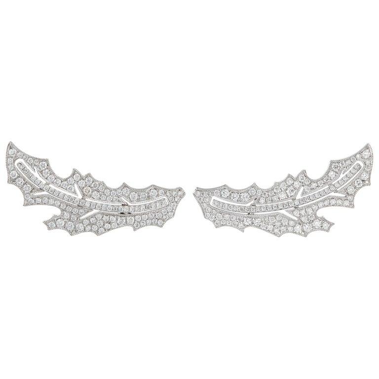 Manpriya B Diamond 18 Karat White Gold Arabesque Ear Climber Earrings