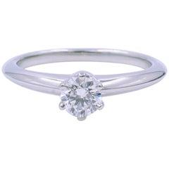 Tiffany & Co. Platinum Diamond 0.26 Carat G-Color VS1-Clarity Ring