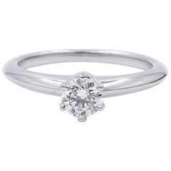 Tiffany & Co. Platinum Solitaire Diamond 0.23 Carat F-Color VVS1-Clarity Ring