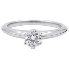 Tiffany & Co. Platinum Diamond 0.30 Carat G-Color VS2-Clarity Ring