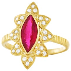 Burma Ruby and Diamond Set Gold Ring GIA