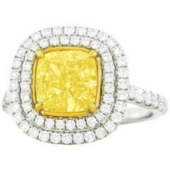 2.66 Carat Fancy Yellow Diamond Set Gold Ring GIA