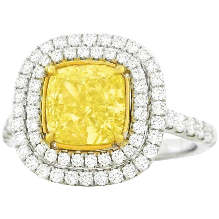 2.66 Carat Fancy Yellow Diamond Set Gold Ring GIA
