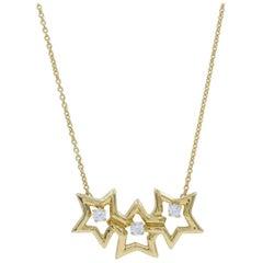 Tiffany & Co. Elsa Peretti Triple Star Diamond Necklace in Yellow Gold