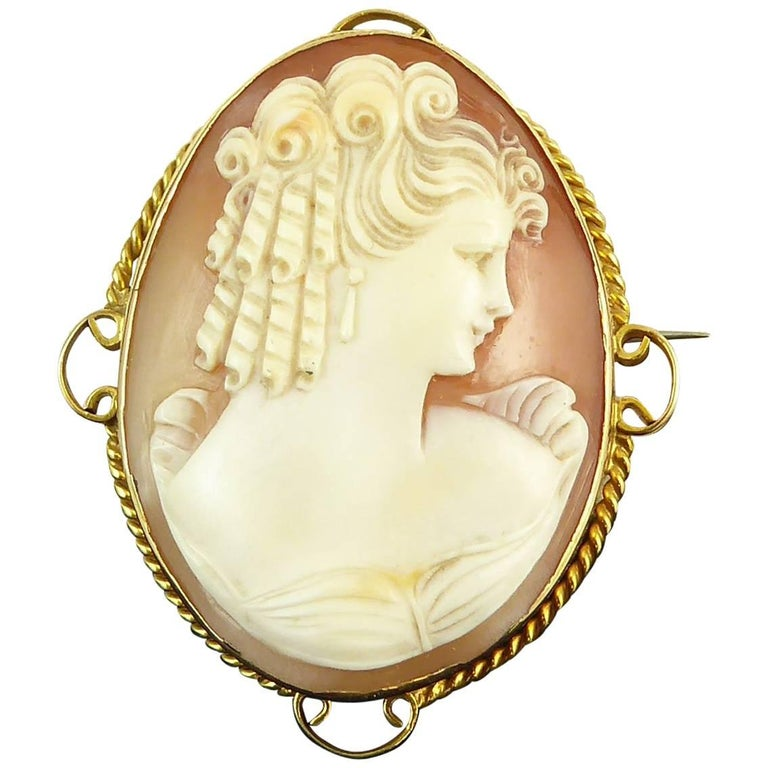 Vintage Cameo Brooch, Hallmarked 1974, Yellow Gold Surround