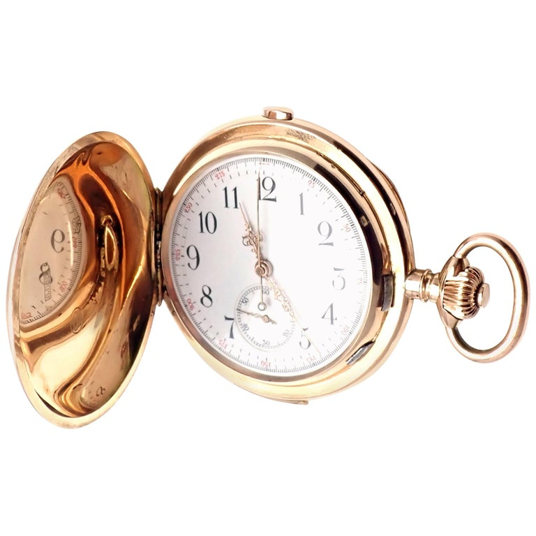 Breguet Yellow Gold Quarter Repeater Large Hunter Case Pocket Stop Watch