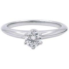 Tiffany & Co. Platinum Solitaire Diamond 0.26 Carat F-Color VS1-Clarity Ring