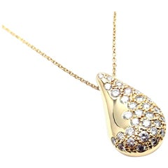 Tiffany & Co. Elsa Peretti Diamond Teardrop Yellow Gold Pendant Necklace