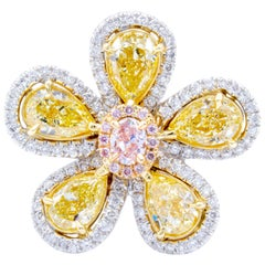 David Rosenberg 3.23 Total Carat Yellow and Pink Multi Shape Diamond Flower Ring