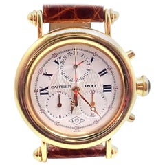 Cartier Yellow Gold 1847 Diablo Chronograph Quartz Wristwatch Ref 1400