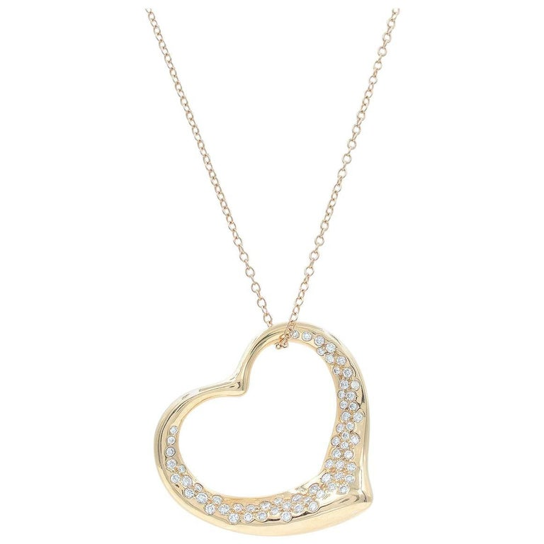 Tiffany & Co. Elsa Peretti Diamond Open Heart Pendant Necklace in Gold