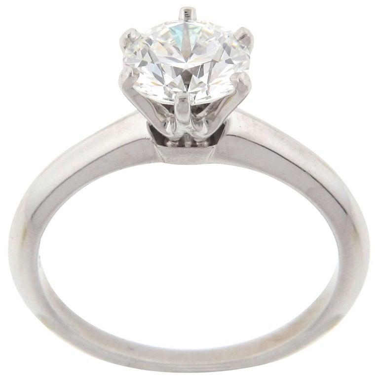 Tiffany & Co. Solitaire Engagement Ring Platinum 1.22 Carat Center HVS1