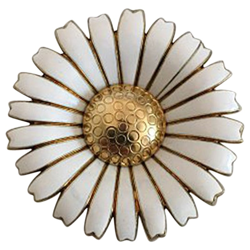 Anton Michelsen Daisy Brooch in Gilded Sterling Silver and White Enamel