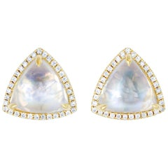 Trillion Moonstone and Diamond Stud Earrings
