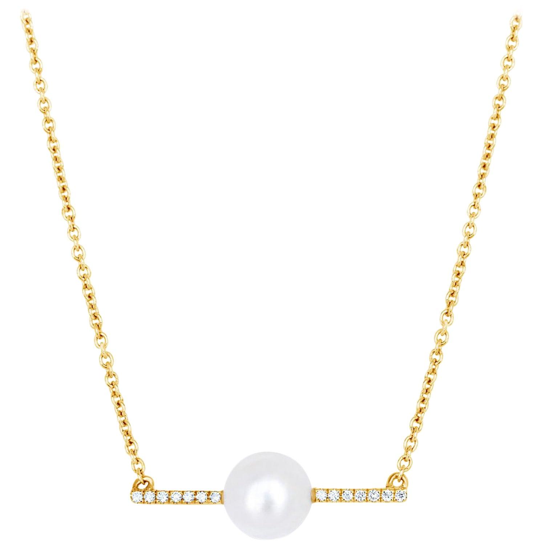 Diamond Bar with Grey Keshi Pearl Necklace