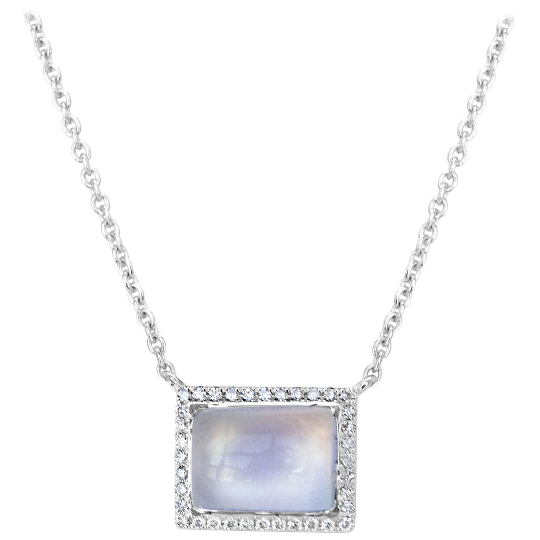 Rectangular Moonstone and Diamond Necklace