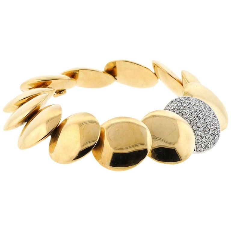 Tiffany & Co. 18 Karat Yellow Gold and Platinum Disc Bracelet
