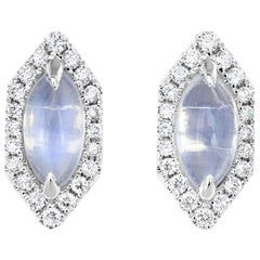 Hexagon Moonstone and Diamond Earrings