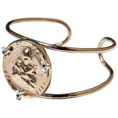Arm Cuff bangle Jeanne D'arc Medal in Bronze and Silver flowers