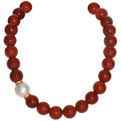 Terracota Agates Orange Sapphires and Freshwater Pearl Rose Gold Beaded Necklace
