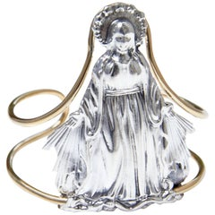 """Never Let Me Down"" Virgin Mary Arm Cuff Bangle in Silver with Brass Wire"