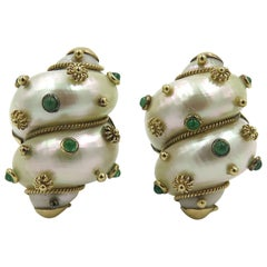 Pair of Shell, Emerald and Gold Earrings