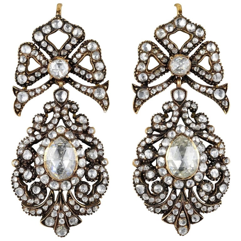 Rare 12.00 Carat Diamond Antique Pendeloque Earrings