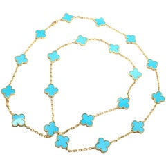 Van Cleef & Arpels Vintage Alhambra Turquoise 20 Motif Yellow Gold Necklace