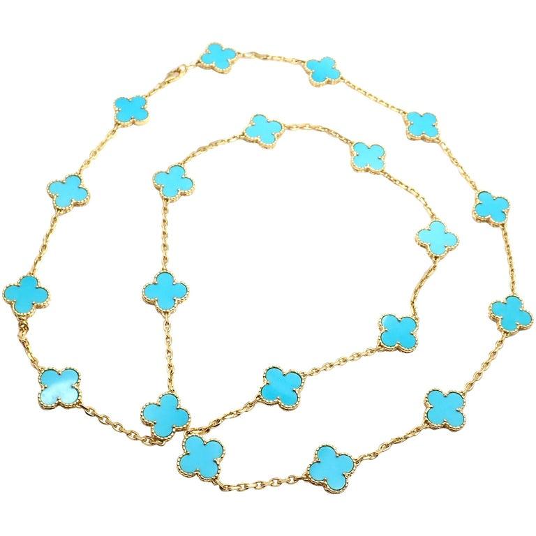 Van Cleef & Arpels Vintage Alhambra Turquoise 20 Motif Yellow Gold Necklace