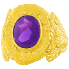 Antique Amethyst Set Gold Ring