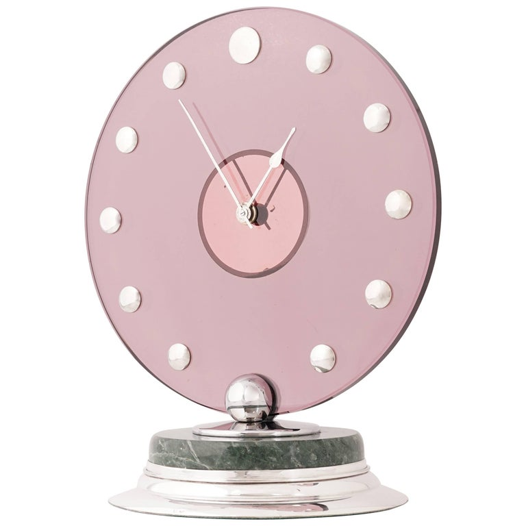 Cartier Circular Silver Pink Glass Marble Art Deco Clock, circa 1935 For Sale