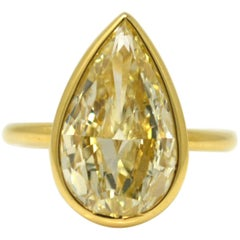5.02 Carat Natural Yellow Pear Brilliant Cut Ring, GIA Certified