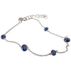 Blue Sapphire White 18K Gold Bracelet