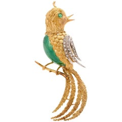 Vintage Italian Emerald Diamond 18 Karat Gold Bird Pin Brooch