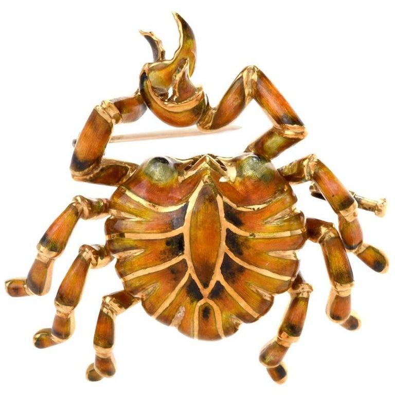 1970s Enamel Crab 18 Karat Yellow Gold Pin Brooch