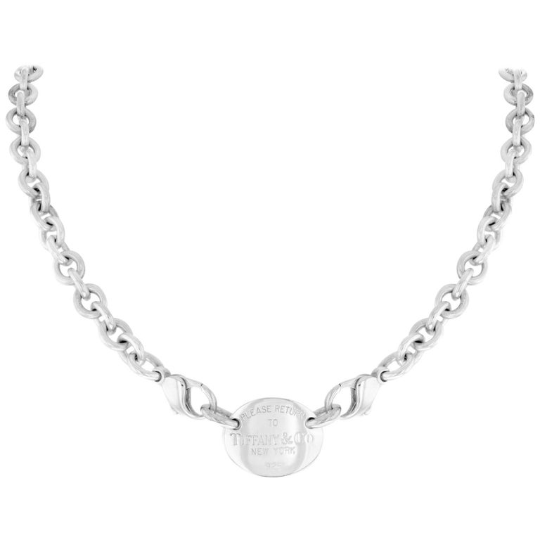 """Tiffany & Co. """"Return to Tiffany"""" 925 Sterling Silver Oval Tag Women's Necklace"""