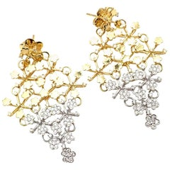 Pasquale Bruni Prato Fioroto Diamond White and Yellow Gold Earrings