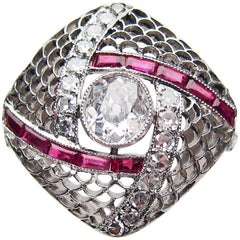 Art Deco Diamond and Ruby Square Filigree Platinum Cocktail Ring
