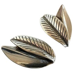 Anton Michelsen Leaf Shaped Sterling Silver Earclips