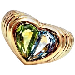 Bulgari Blue Topaz and Peridot Yellow Gold Heart Ring