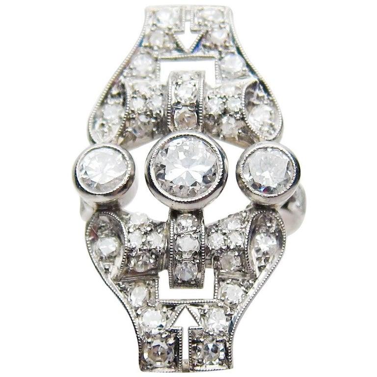 Edwardian 1.75 Carat Old European-Cut Diamond North-South Platinum Cocktail Ring