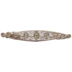 14 Karat White Gold and Platinum Filigree Antique Brooch