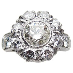 Midcentury 2.64 Carat Brilliant-Cut Diamond and Platinum Cluster Engagement Ring