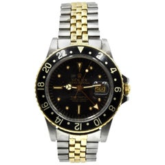 Vintage Rolex GMT-Master Two-Tone 14 Karat Gold Nipple Dial Watch Ref 1675