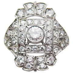 Edwardian 1.09 Carat Brilliant-Cut Diamond and Platinum Cocktail Ring