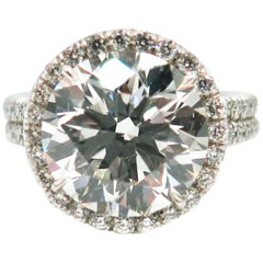 AGS Certified 5.45 Carat Ideal Cut Round Diamond Platinum Engagement Ring